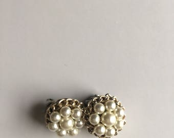 Vintage Earring Pearls White Silver Signed Japan