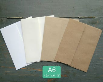 "25 A6 Envelopes, 4 3/4"" x 6 1/2"" (121 x 165mm), 100% Recycled envelopes, invitation envelopes, white, natural white, light or kraft brown"