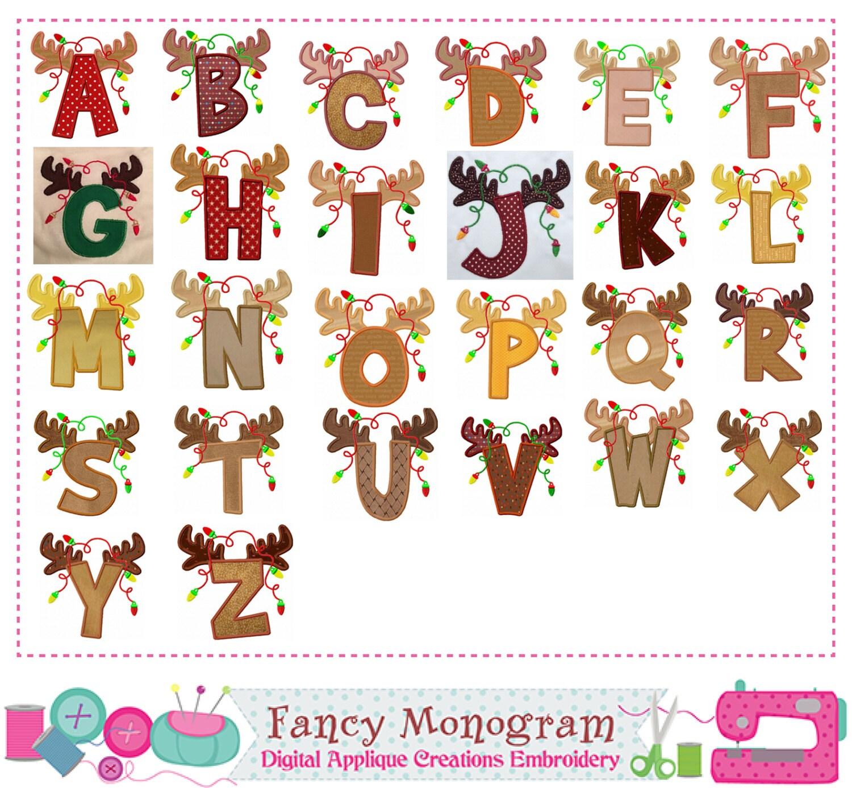 Reindeer Letters AppliqueChristmas Monograms AppliqueChristmas