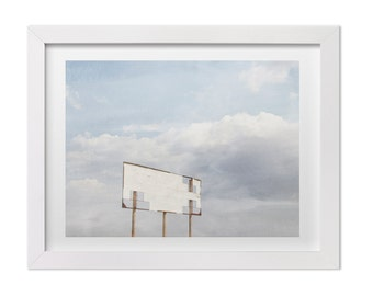 Large Wall Art, Western USA Landscape Photography, Old Billboard on Route 66, Sky Print, Cloud Photography, Gallery Wall Print, Nature Print