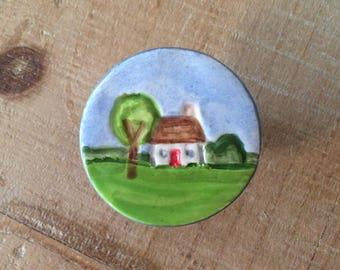 Little Cottage Knob, Drawer Pull, Ceramic Knob, Handmade Knobs, Little House Knob, Cabinet Knob Pull, Furniture Knob Pull, Kitchen Cabinet