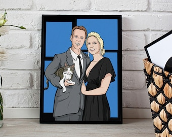 Family Custom Portrait Cartoon , Personalized Caricature, Personalized portrait, Family Portrait-Ask for a different style/ cartoon