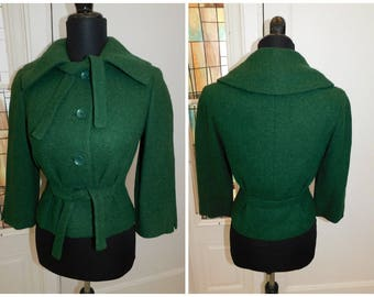 "1940s 50s Green Nipped Waist Wool Blazer Miss Bergdorf Goodman Nipped Waist Old Hollywood 34"" chest"