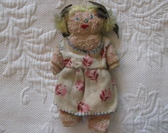Antique Primitive Hand-Sewn Blond Rag Doll
