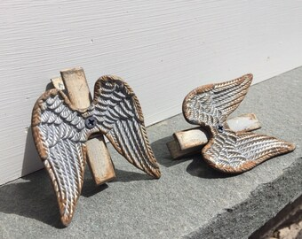 Angel Wings/ Clothespins/ Angel Wings Clothespins/ Silver Angel Wings/ Home and Garden Decor Set of 2 Clothespins