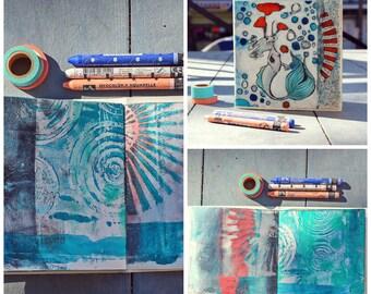 Art journal. junk journal, smash book, sketchbook, mixed media, under the sea