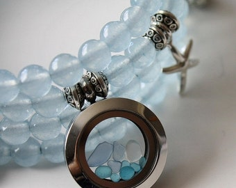 Sale 20% Rabais Sea glass bracelet, aquamarine bracelet, beads bracelet, 4-row bracelet, ocean bracelet, nautical bracelet, blue bracelet, a