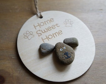 Pebble Art, Dog Lover, Home Sweet Home, Dog, Wall Decor, Home Decor, Laser Engraved, Handmade, Pebble Picture, Pet, Paw Print, Animal Lover