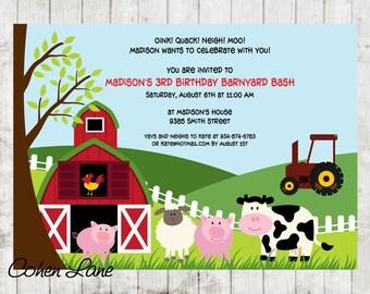 Farm Birthday Invite. Barnyard Birthday Invitation. Farm Invitation. Barn Invitation. Old MacDonald Invite. Petting Zoo Invite. Digital