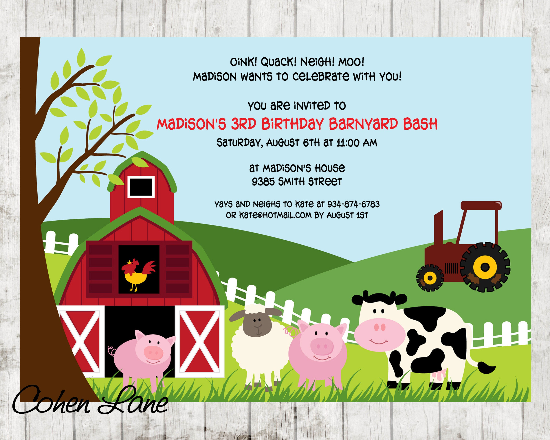 Farm Birthday Invite. Barnyard Birthday Invitation. Farm