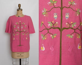 vintage embroidered owl top