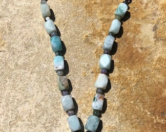 Primitive Light Blue Agate Iron Pendant Necklace