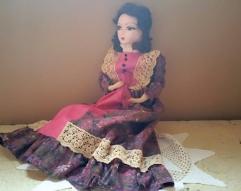 French Style Boudoir Doll  Paper Mache Face Human Hair Straw Stuffed