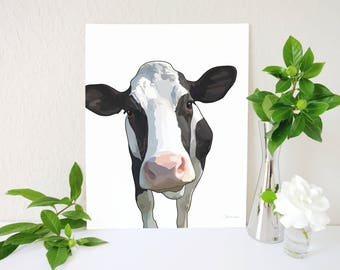 Cow Art Print, Cow Painting, Holstein Decor, Modern Farmhouse Decor, Holstein Print, Farm Decor, Animal Art, Cow Kitchen, Farm Animal Art