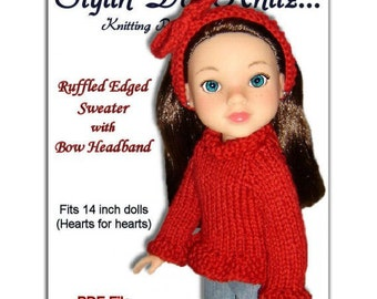 Knitting Pattern. Fits Hearts for Hearts Doll. Sweater and Headband  PDF File 242