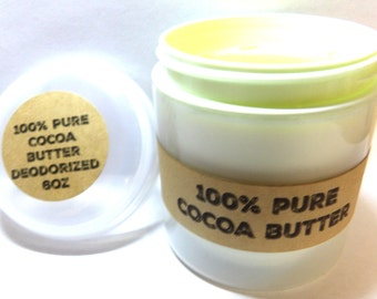 6oz Light Green Jar of Pure Cocoa Butter - Perfect for Soap Making and Bath and Body Products