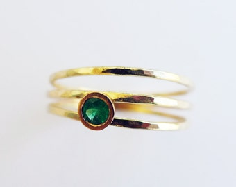 Kim Across The Universe. Asymmetrical Engagement Emerald Ring. Hammered 14K Gold And Conflict Free Emerald. Alternative Engagement Ring.