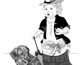Custom portrait, print, pen and ink drawing, children, ink drawing, ink art, child portrait, black and white art, drawing, portrait