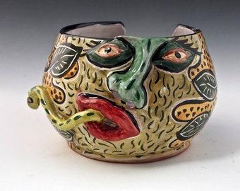 Ceramic Yarn Bowl Pottery, Face Yarn Bowl, Snake Road Sally, Snot Nosed Majolica String Holder - Knitting Bowl - Crochet Bowl, gift for Mom