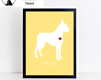 Boxer Dog Printable Wall Art - Modern and Clean Boxer Puppy Dog Decor - Custom Background Color - 8x10