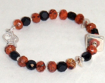 Serendipity Black and Red Crystal and Glass with Silver Bracelet
