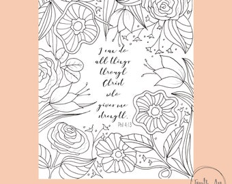 Philippians 4:13 Coloring Page, Bible Verse Coloring Page, Christian Coloring Page, Scripture Coloring Page,