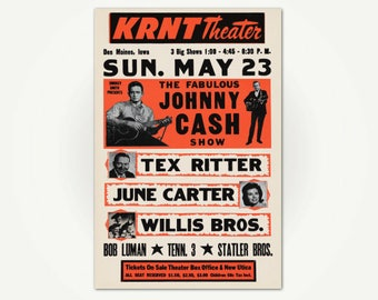Johnny Cash Concert Poster Print - 1966 Des Moines Iowa Concert - Johnny Cash - June Carter - Tex Ritter