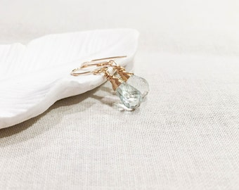Green Amethyst Gold Wrapped Drops - 14k Yellow Gold Fill Wire Wrap Light Green Sage Genuine Gemstone Earrings February Birthstone OOAK