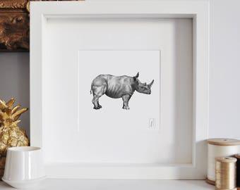 Framed Rhino Print