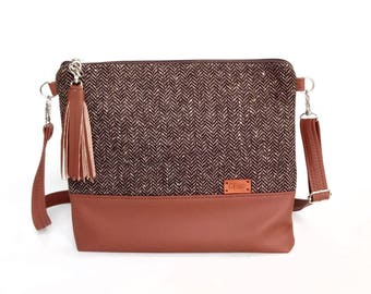 Brown Tweed Bag Small Purse Gift for mom Handbags Faux Leather Small Сrossbody bag Tweed Brown Purse _B071