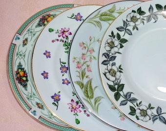 Mismatched China Salad Side Plates Set of Four Floral Fruit Flowers Bone China England Japan