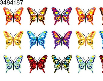 Colorful Butterflies - 34841 ~ Ceramic Decal - Glass Decal ~ Enamel Decal ~ Waterslide Decal ~ Lead Free Food Safe
