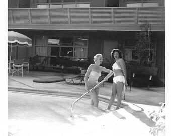"Vintage Snapshot ""Pool Talk"" Two Pretty Girls Bikini Swimsuits Swimming Pool Found Vernacular Photo"