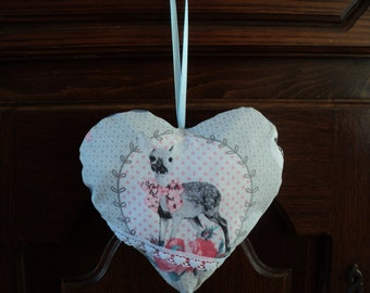 beautiful door pillow heart, DOE, bambi, handmade