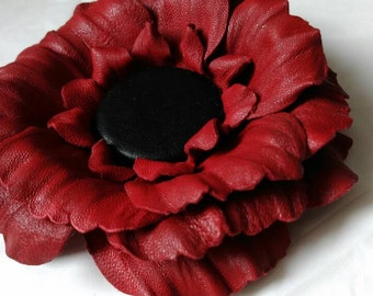 Flower leather brooch, Red and Black flower brooch , Flower  brooch, Brooch leather, Accessory women,  Gift idea, Brooch flower