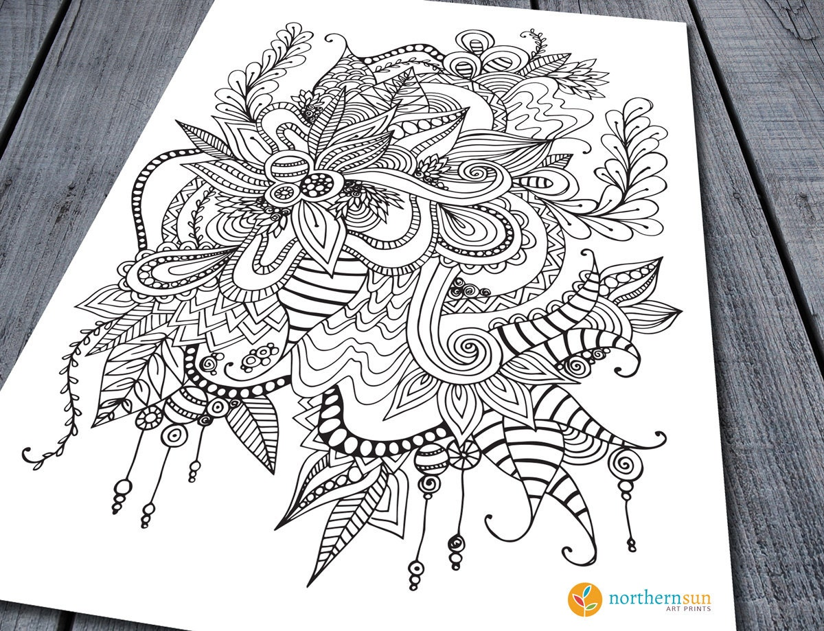 Zendoodle Coloring Pages Doodle Adult Colouring Page Printable Colouring Pages Zen