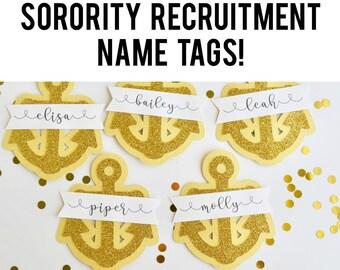 Sorority Recruitment Name Tags, Bid Day