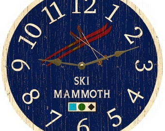 Blue Ski Clock- Personalized Ski Clock