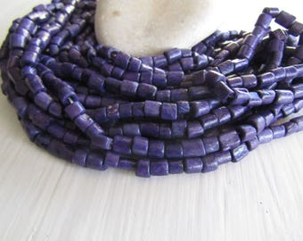 purple tube bone beads, rondelle barrel spacer Bone beads, rough Irregular look,  boho exotic beads 4 to 7mm long  (50 beads) 7bb5-1