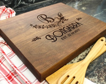 "15x12"" Personalized Chopping Block - Engraved Edge Grain, Custom Butcher Block, Housewarming, Wedding, Engagement, Hostess Gift (023)"