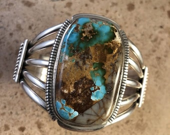 Thomas Francisco Royston Turquoise & Sterling Silver Cuff Bracelet Signed