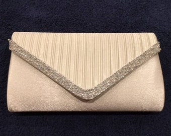 Vintage White Satin and Silver Beaded Clutch