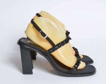 Vintage 90's Black Chunky Sandal Shoes with Sequins