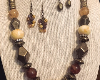 Chunky Boho Necklace Chain Antique Bronze  Mixed Media Beads CL1468