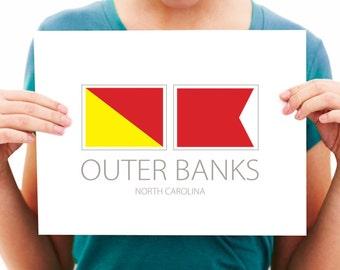 Outer Banks  - North Carolina - Nautical Flag Print