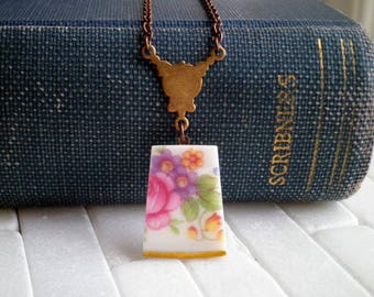 Vintage Floral China Charm Necklace - Flower Garden Broken Plate Pendant - Pink Rose Wildflower Pattern Broken China Jewelry Gift For Her