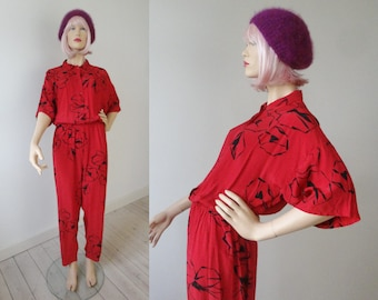 Red 80s Vintage Jumpsuit With Black Print // Coppernod // Size M // Made In United Kingdom