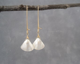White Earrings - Shell Earrings - Summer - Dangle Earrings - Mother of Pearl - Light,  Bright and White Mother of Pearl  Earrings