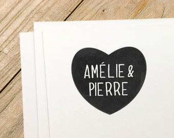 Custom rubber stamp // HEART + NAMES ! // Wedding rubber stamp, name initials stamp, custom rubber stamp, save the date