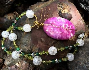 FLOWER CHILD Necklace (Purple Sugilite, Ice Flake Quartz, Peridot, Green Aventurine, Czech Crystal)